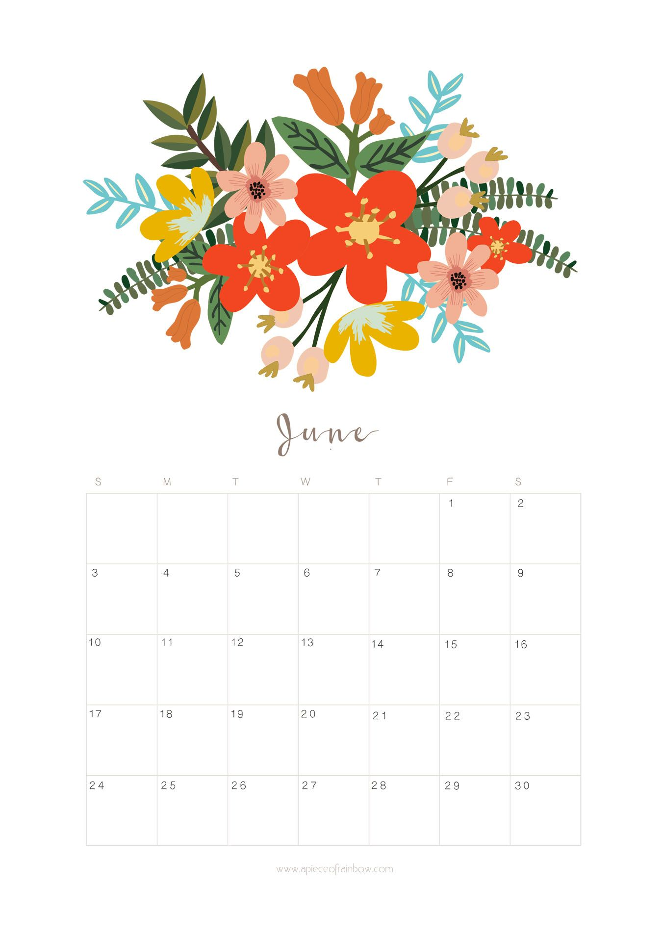 Calendar Floral : Printable june calendar monthly planner flower