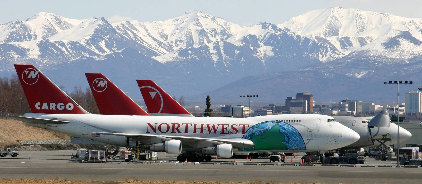 Northwest 747 Freighters lined up with the Chugach