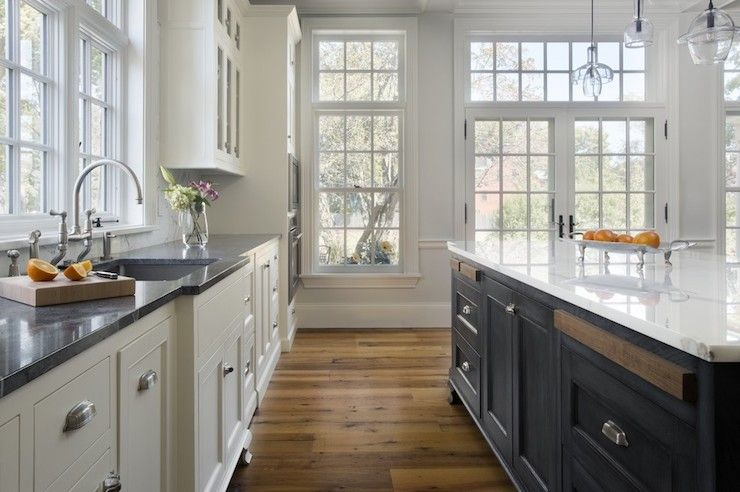 White perimeter cabinets with soapstone counters, dark blue ... on kitchen sinks soapstone, kitchen countertops soapstone, kitchen faucet soapstone,