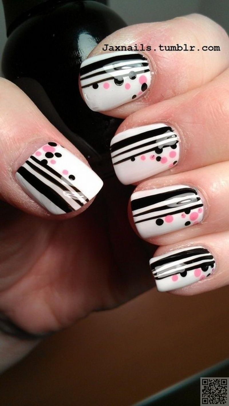 Cute #Polka Dots and Stripes - This is What Striped Nail Art #Looks like:  29… - 29. Cute #Polka Dots And Stripes - This Is What Striped Nail Art