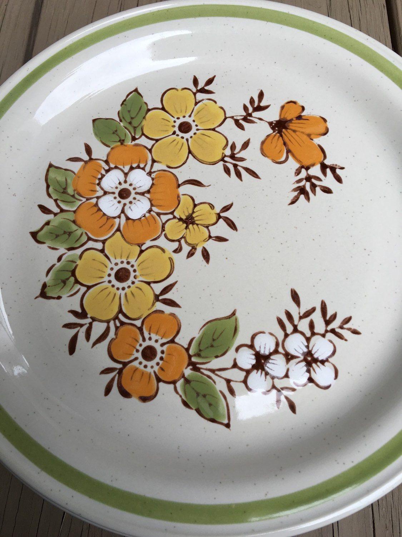 Spring Garden Dinner Plates Country Casual Stoneware Orange u0026 & Spring Garden Dinner Plates Country Casual Stoneware Orange ...