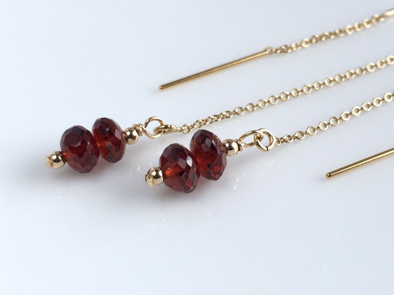 Gold Ear Chains Long Garnet Earrings Gold Threader Earrings Gold Ear Threads January Birthstone Earrings Gift Ideas for Bridesmaids