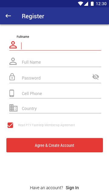 use Material Design, android simple register view | UI/UX | App