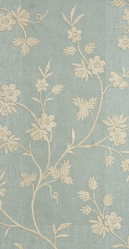 Sea Blue Embroidered Curtain Fabric Sanderson Dalloway Range