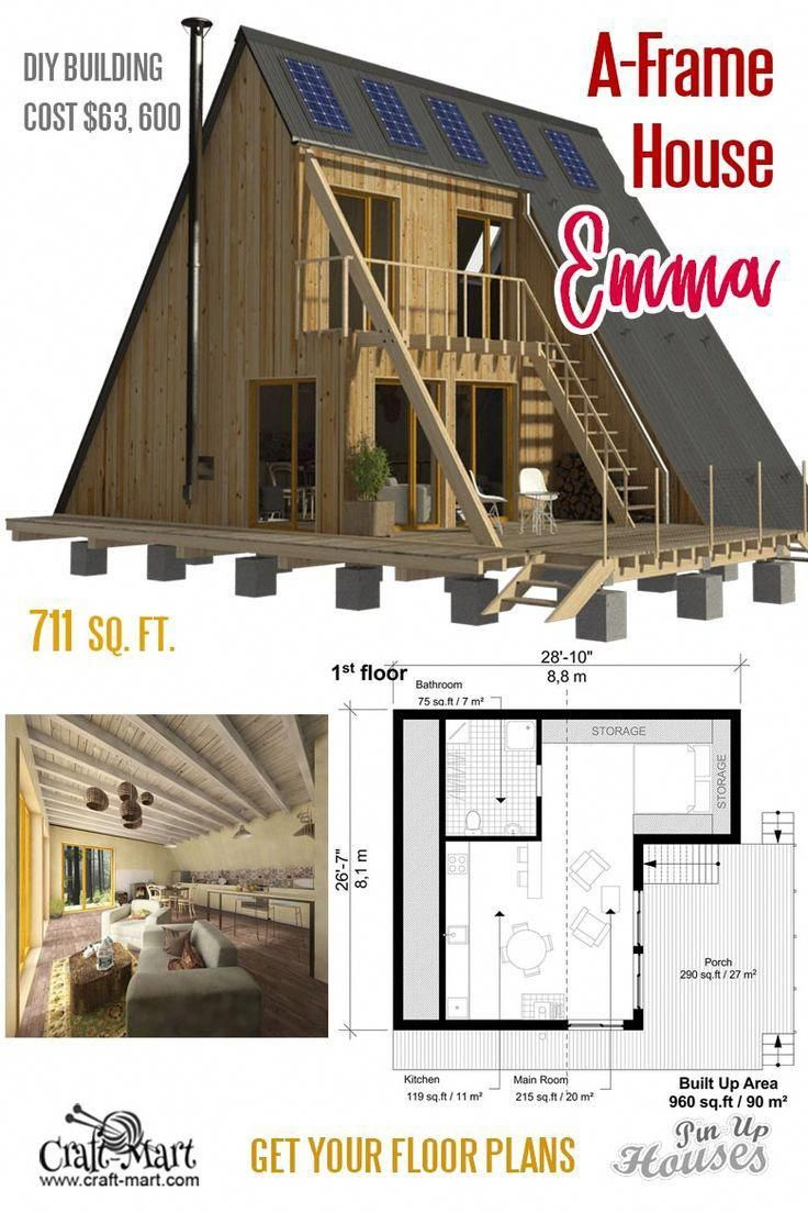 Emma Is A Very Cozy Small House Really Well Designed For Modern Living A Frame Small House Unique Small House Plans Small House Floor Plans Small House Plans