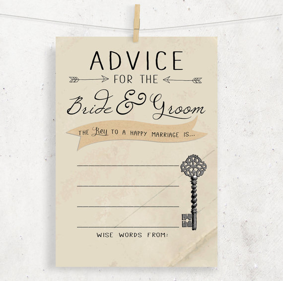 Instant Advice For The Bride Groom Wedding Bridal Shower Cards