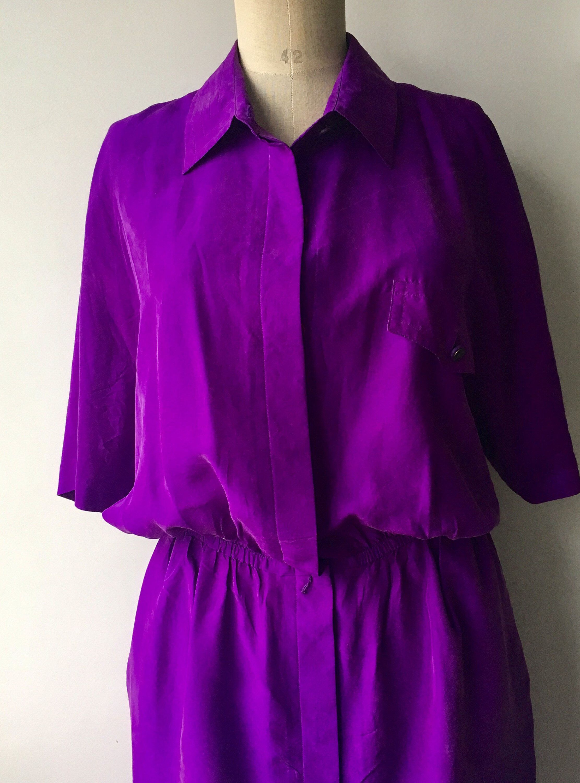 1f70deaf0348 Deep purple vintage silk button down shirt dress