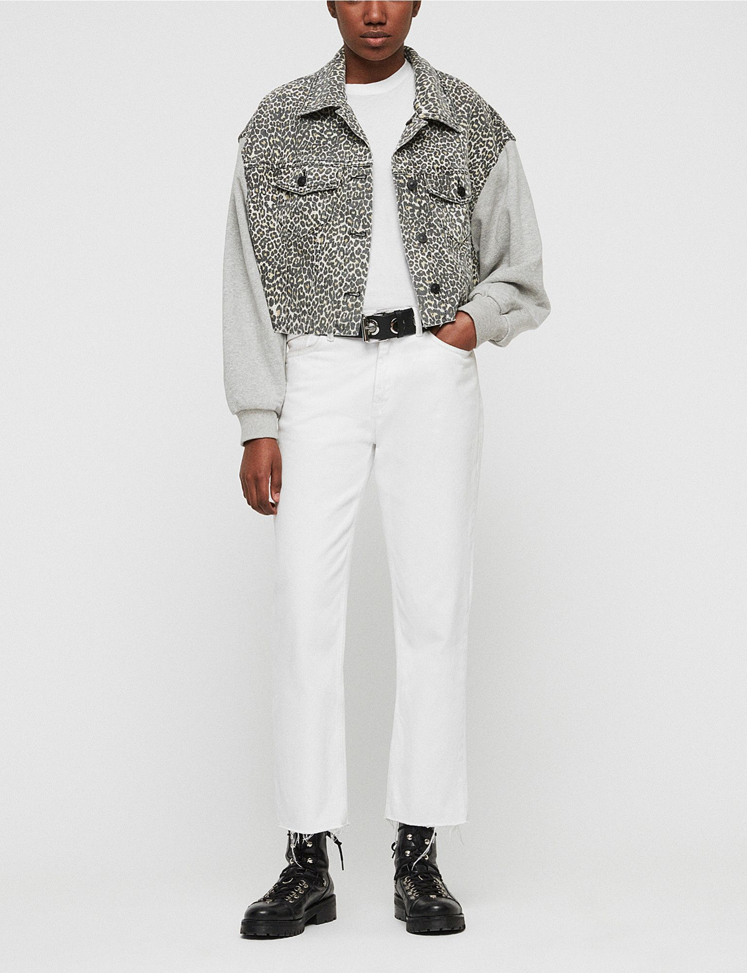 79d1c626221 ALLSAINTS Anders leopard-print denim and cotton-jersey jacket in ...