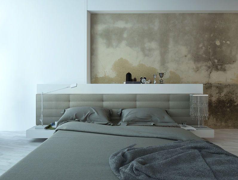Décoration chambre à coucher gris beige blanc - Mur béton beige