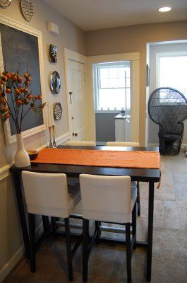 kitchen table: like how this is right up against the wall with the ...