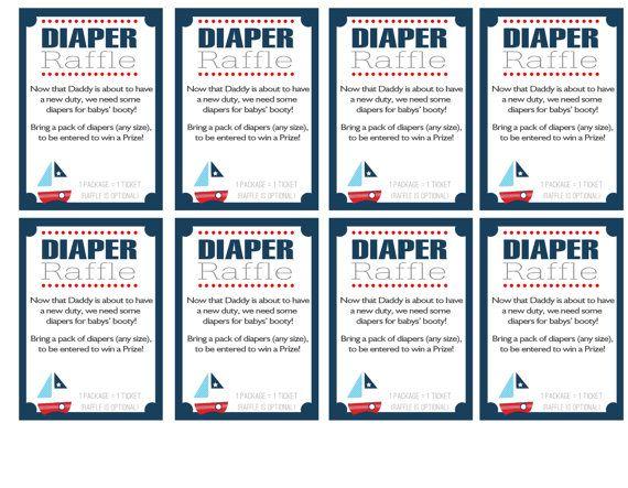 Nautical Diaper Raffle Invitation Inserts DIY by ElvasCrafts - free raffle templates