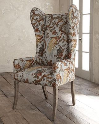 kincaid horchow pheasant host blue print wing back chair recover dining room