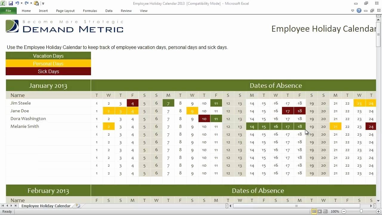 Excel Employee Schedule Template Elegant Employee Holiday Calendar Template 2013 Vacation Calendar Holiday Calendar Calendar Template Employee vacation planner template excel