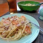 Bacon Shrimp Fettuccine with Asiago PDO Alfredo Sauce #shrimpfettuccine Bacon Shrimp Fettuccine with Asiago PDO Alfredo Sauce #shrimpfettuccine