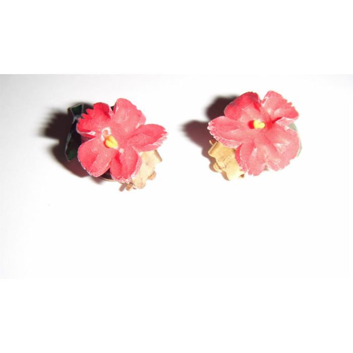 vintage goldtone clip on earrings with beautiful ceramic red flowers
