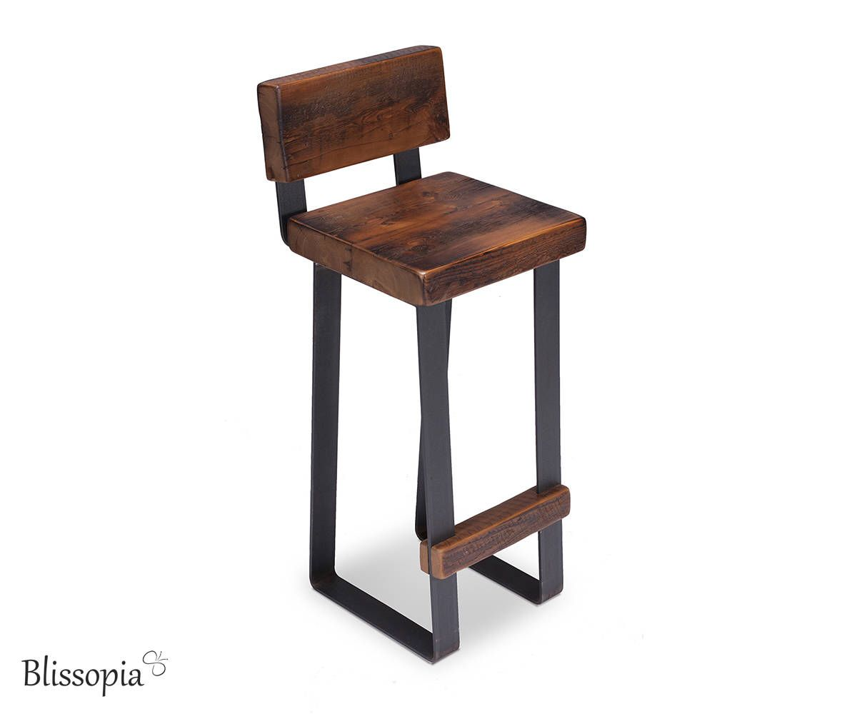 Bar Counter Table Stool With Back Support Chair With Back Metal Reclaimed Wood Steel Legs Stools With Backs Coffee Table With Stools Table Stool