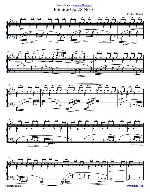Frederic Chopin : Prelude Op 28 No  6 in Bm - piano sheet