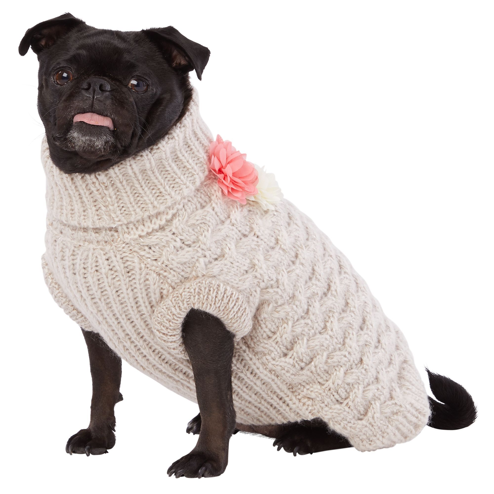Top Paw Flower Knit Pet Sweater size X Small, cream/wash