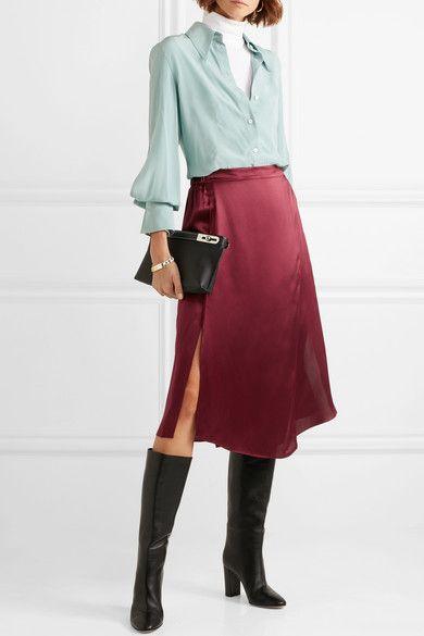 9c1d794b4e Vince - Wrap-effect silk-satin midi skirt in 2019 | wish list ...