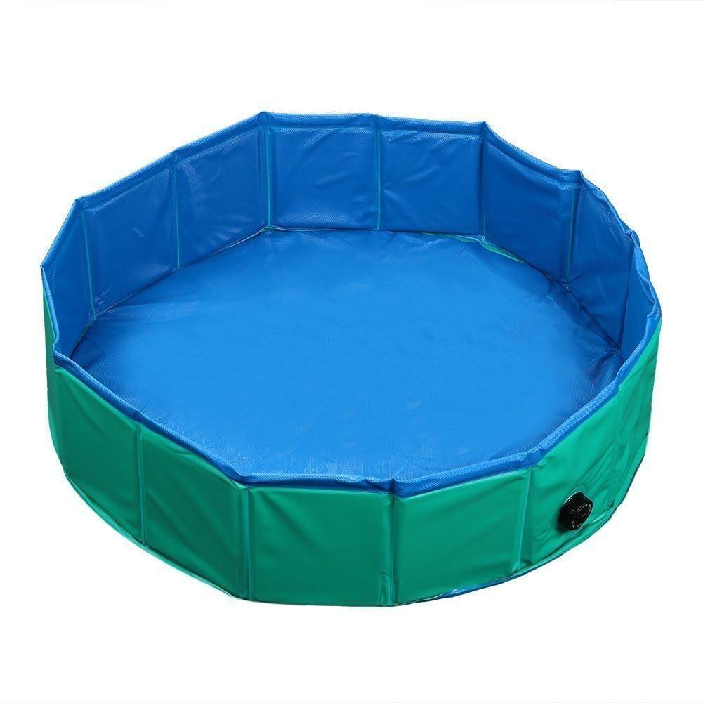 Slaiya Foldable Dog Pet Swimming Pool Bathing Tub Green/Blue 31.5x7 ...