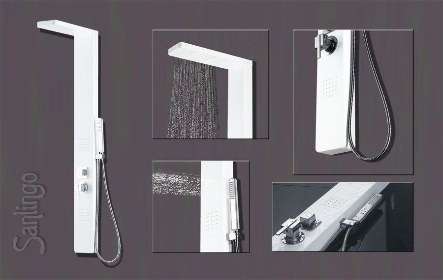 alu duschpaneel duschs ule mit regendusche und massaged sen wei weiss von sanlingo pool. Black Bedroom Furniture Sets. Home Design Ideas
