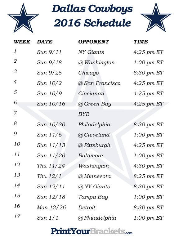 Printable Dallas Cowboys Schedule 2016 Football Season