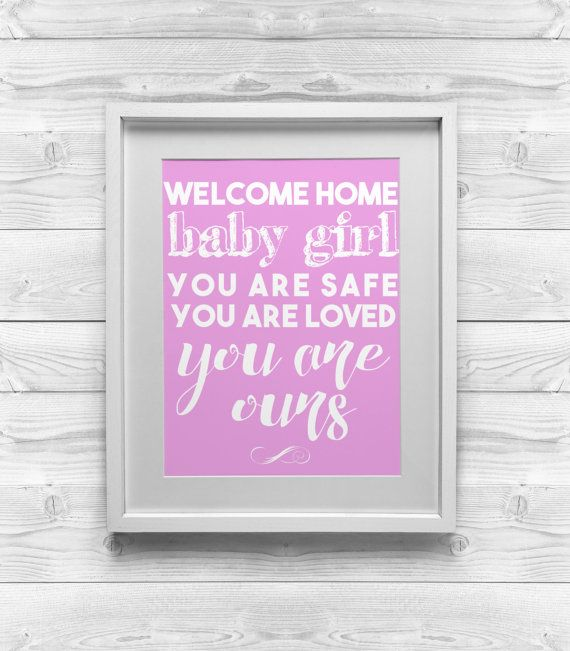printable art welcome home baby girl 8x10 by decoratypedesigns