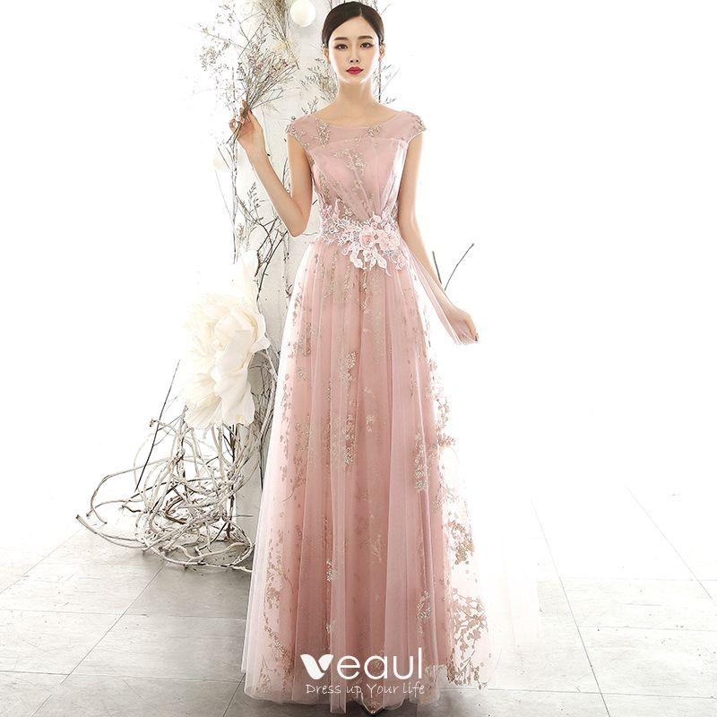 Photo of Schicke / schöne perlrosa durchsichtige Abendkleider 2020 A-Line / Princess U-Ausschnitt ärmellos …