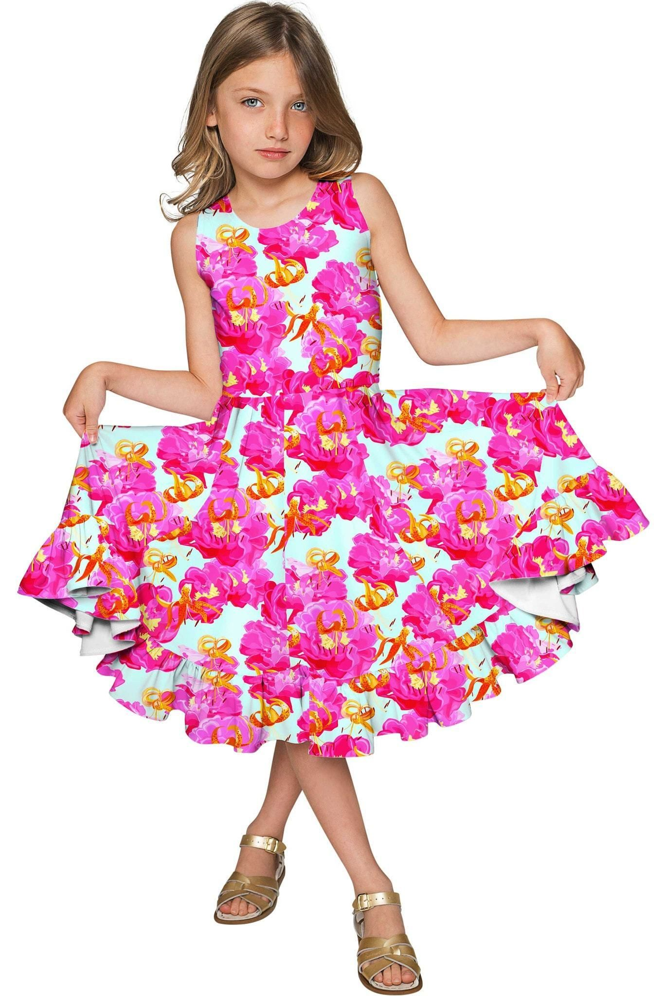 e340991a370b Sweet Illusion Vizcaya Fit & Flare Pink Floral Party Dress - Girls ...