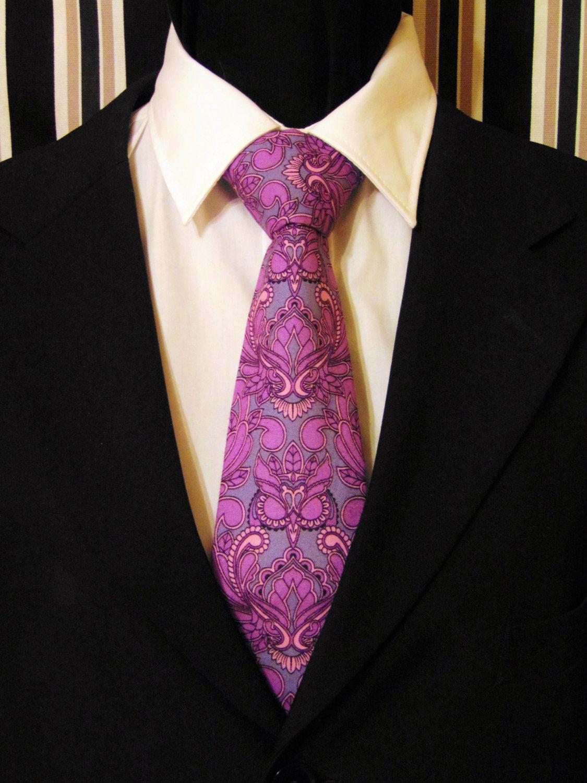 Purple Paisley Tie Cotton Owl Neck Tie For Men In Purple And Grey Paisley Motif Ties Mens Purple Paisley Tie Neck Tie