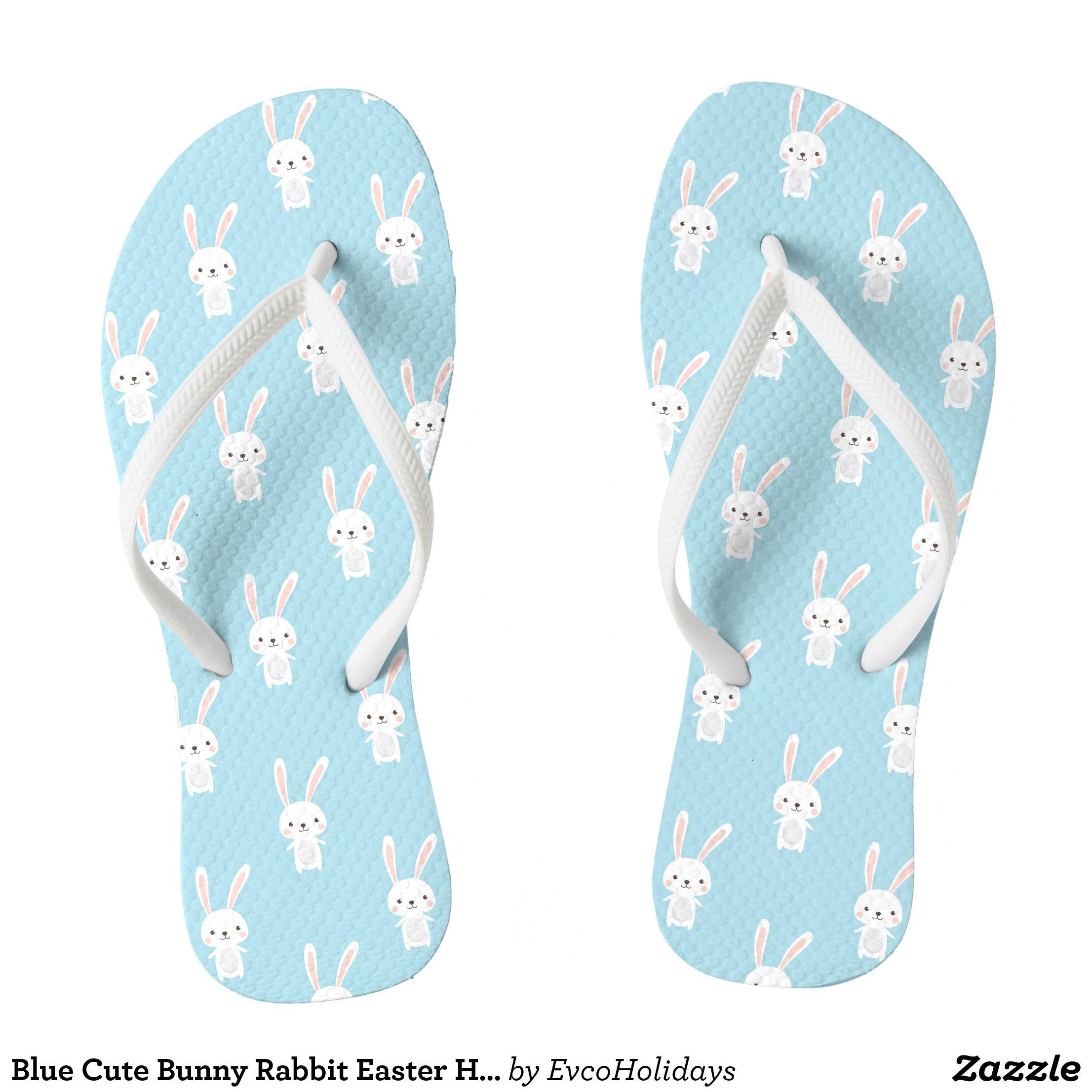 Blue Cute Bunny Rabbit Easter Holidays Pattern Flip Flops Zazzle