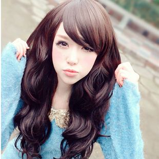 Ran duo long curly scroll scroll fluffy oblique bangs long hair girls fashion Wigs $14.19