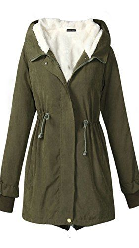 b556387c18bd Ecupper Women s Winter Mid Length Thick Warm Faux Lamb Wool Lined Hooded  Jacket Coat Army Green M