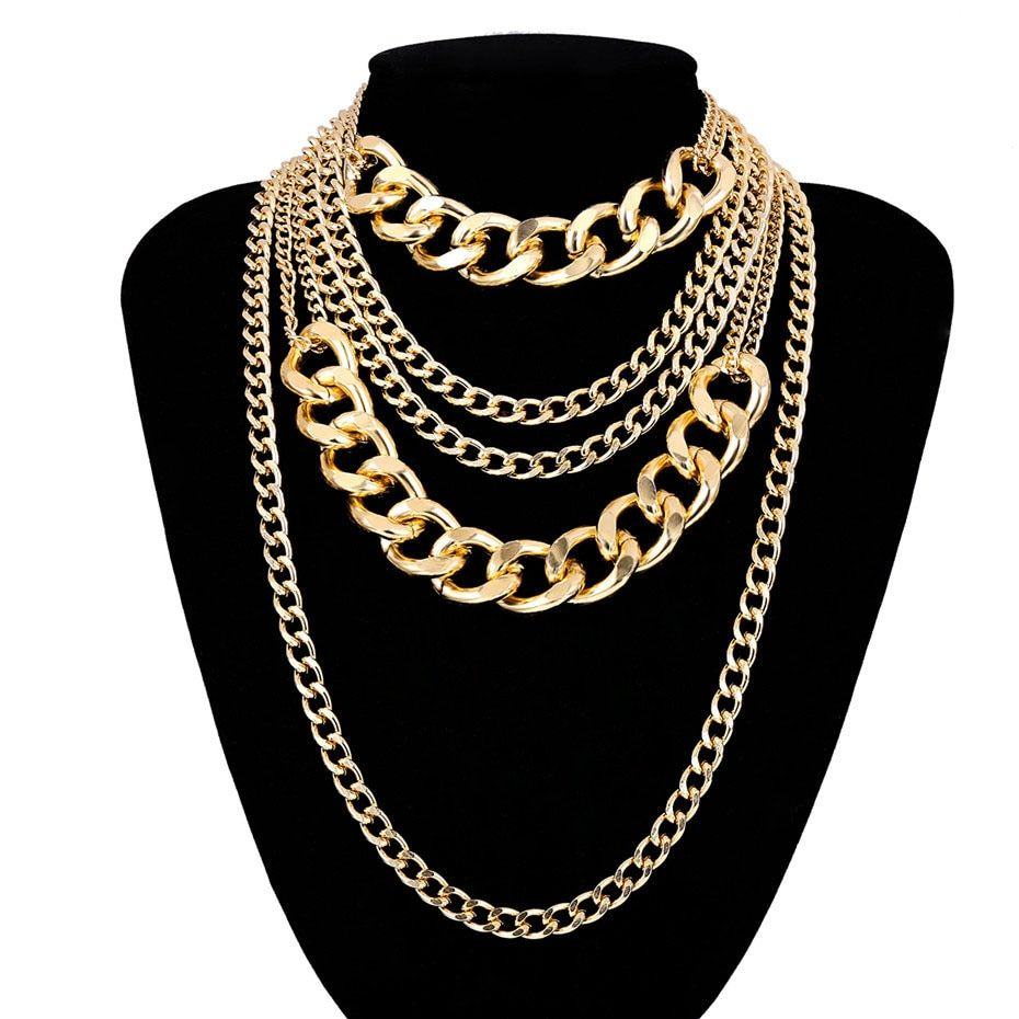 Photo of Vintage Multi Layered Choker Cuba Chunky Thick Clavicle Necklace – Golden