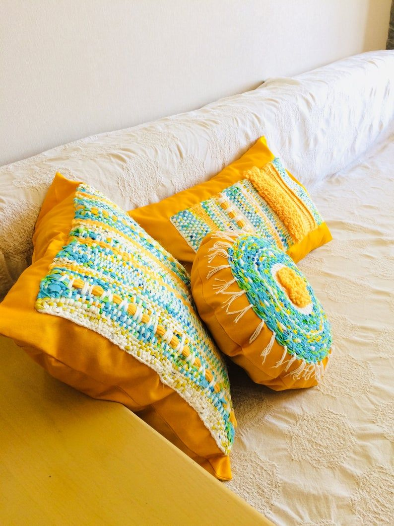 Bright boho accent round pillow for couch 14 inch