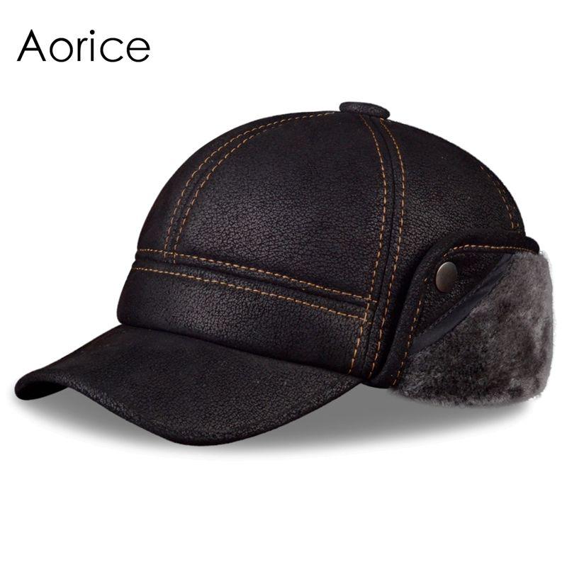 b3bba6dc3c9 HL083 New New Fashion Men s Scrub Genuine Leather baseball Winter Warm  baseball Hat   Cap 2colors