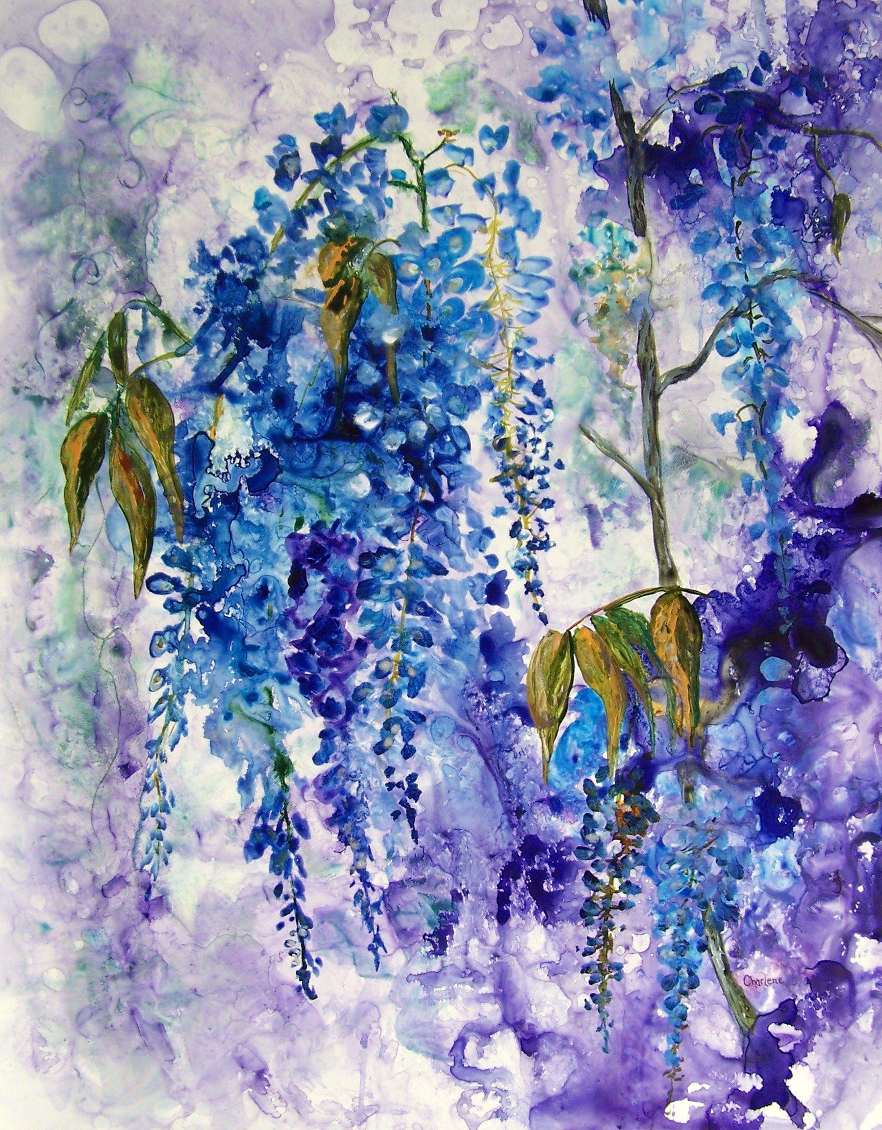 Wisteria Watercolor on yupo paper. It's about 20 x 24. For sale $350.