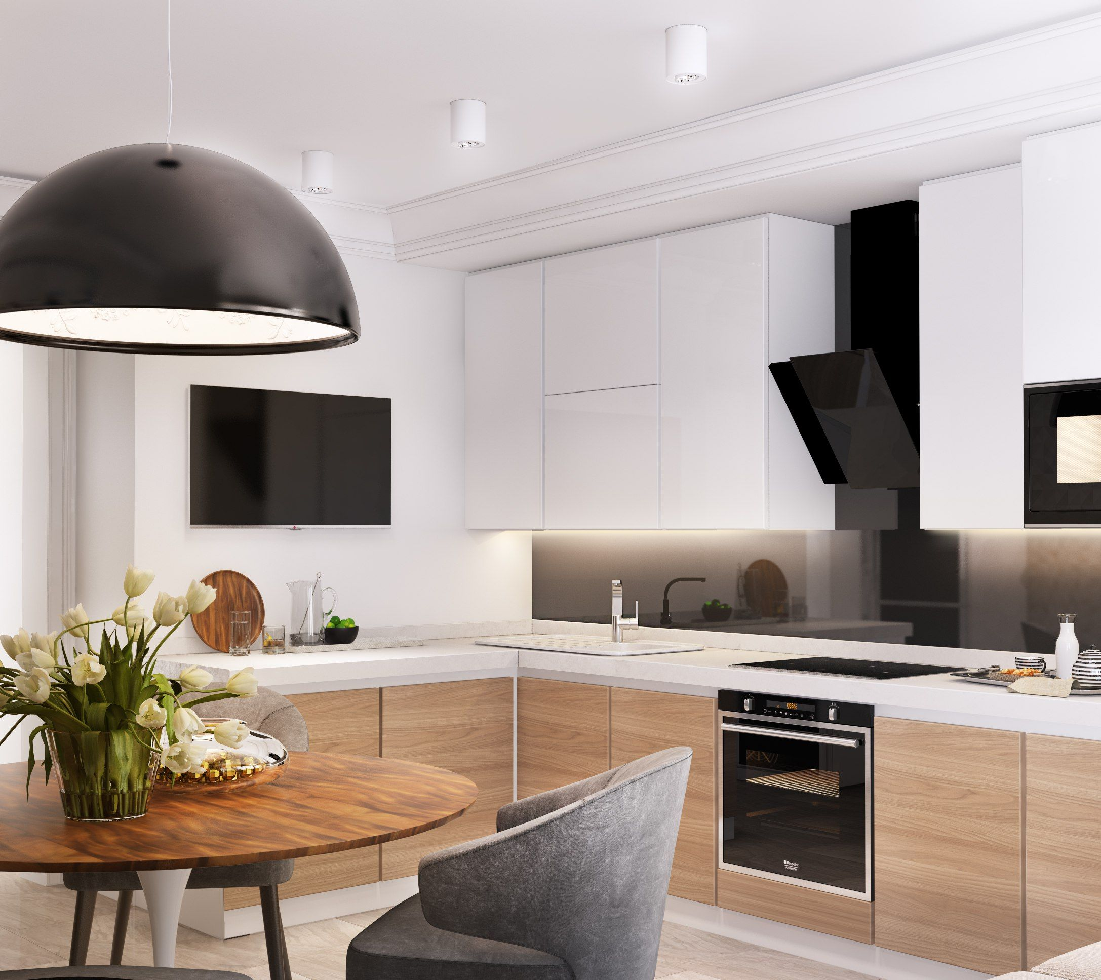 Kleine Küche In L Form In Weiß, Schwarz Und Holz | Küche | Pinterest |  Kitchens, Townhouse And Interiors