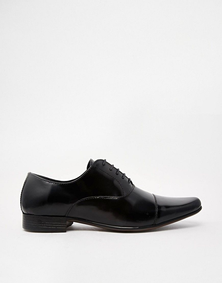 ASOS Oxford Shoes in Black Leather With Toe Cap free shipping 100% authentic wqlNsEr1