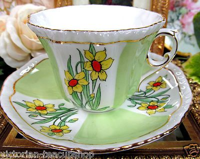 Royal Grafton Tea Cup and Saucer Fancy Floral Lime Green Teacup
