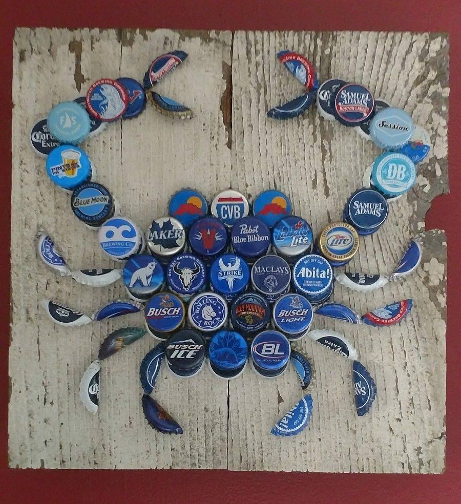 Beer Bottle Cap Maryland Blue Crab Art Beer Bottle Cap Crafts Beer Cap Crafts Bottle Cap Crafts
