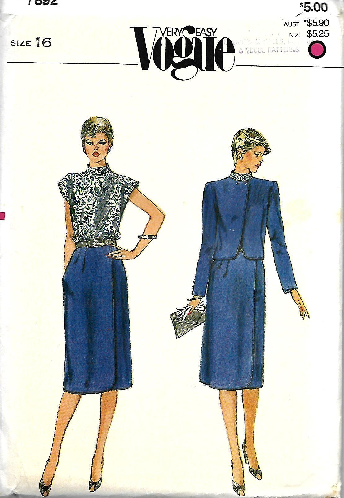 Vogue 7892 Easy Misses Jacket And Faux Wrap Dress Pattern, Size 16 ...