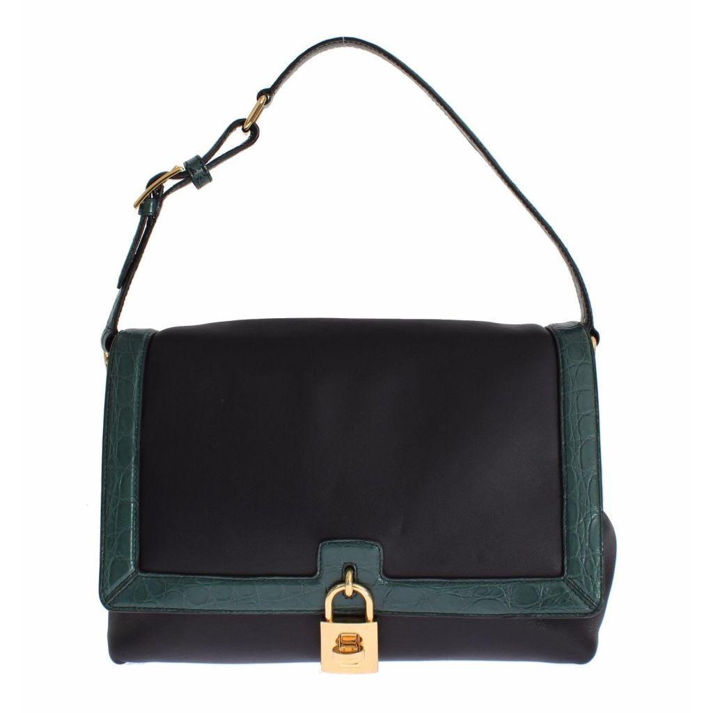 Dolce   Gabbana Miss Bonita Green Caiman Leather Hand Shoulder Bag ... 9f5abb797c91a