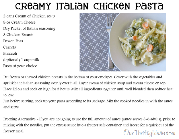 Our Thrifty Ideas Creamy Italian Chicken Pasta In The Crockpot