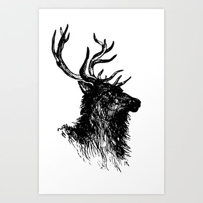 Vintage Buck Art Print by Gallymogger Print - $15.00