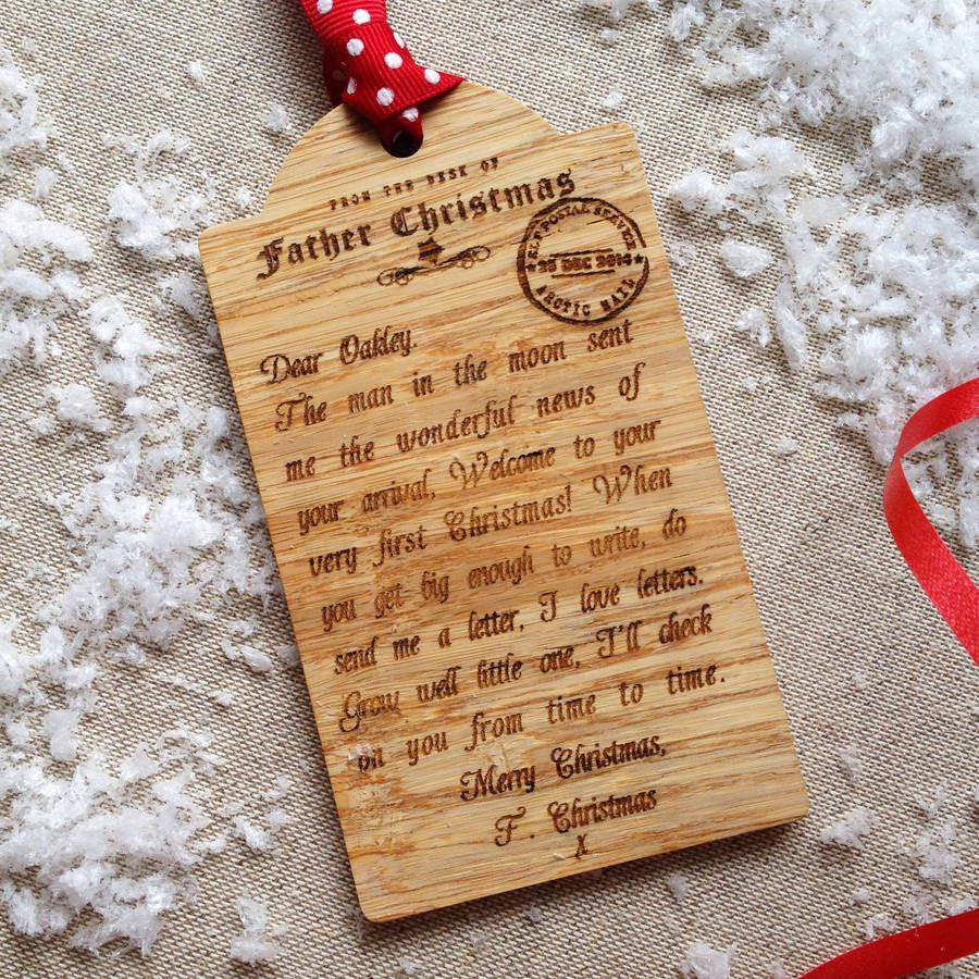 bespoke babys first christmas wooden tag decoration wooden