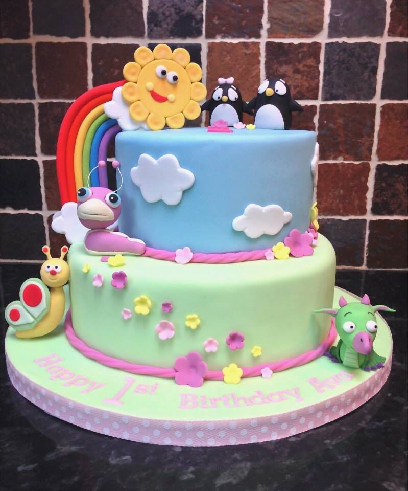 BabyTV two tier birthday cake for a little girl turning 1 baby