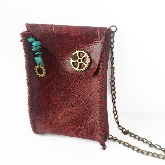 Red Leather Neck Wallet Hippie Wallet Medicine by TannerAndEarth