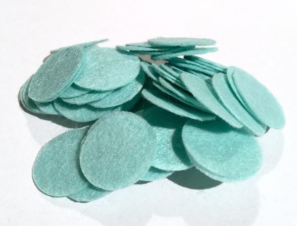 1 inch aqua blue die cut felt circles. Hundreds of elastics, FOE, flowers, rhinestones, jewelry findings & more too!