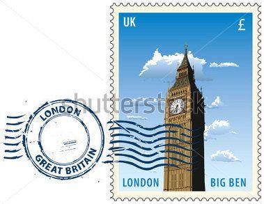 Marca postal con vista de noche de la torre del Big Ben de Londres